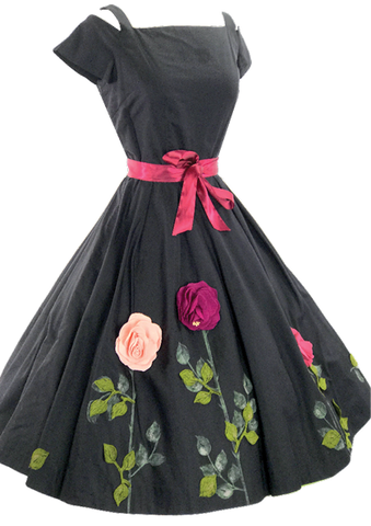 1950s Black Cotton Dress with 3D Felt Flowers- New!