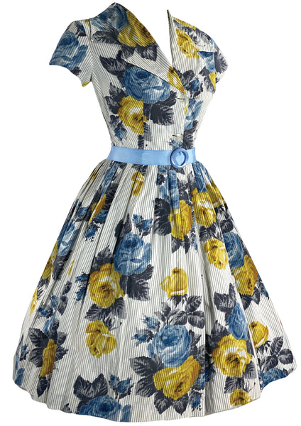Late 150s Early 1960s Blue andYellow Roses Cotton- New!
