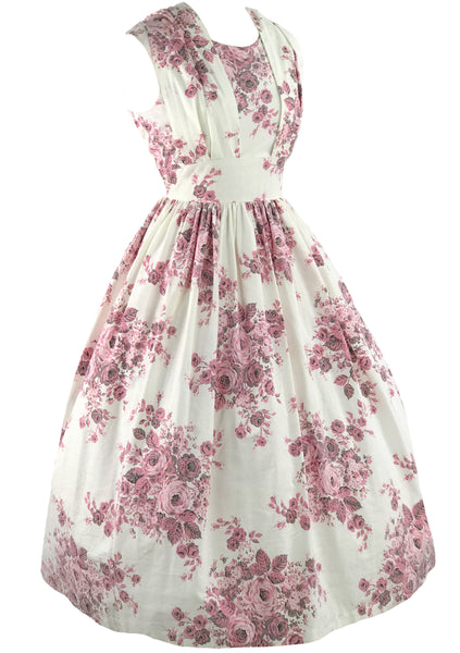 Vintage 1950s Pink Rose Bouquet Cotton Dress - New!