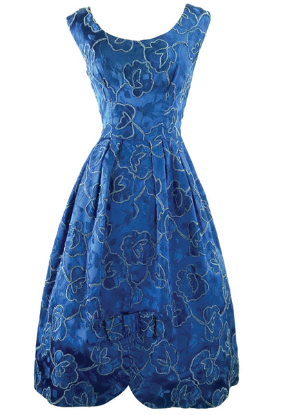 Vintage 1950s - 1960s Blue Roses Brocade Cocktail Dress- New!
