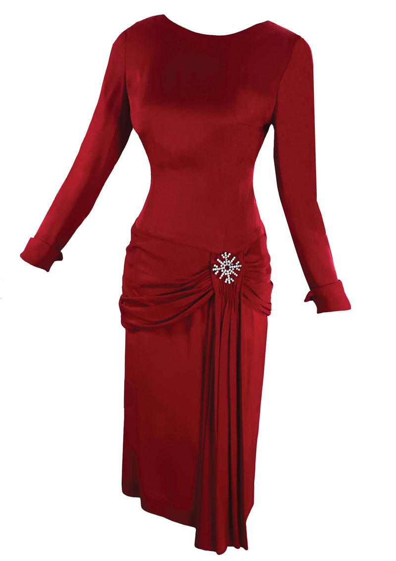 Early 1960s Claret Red Rayon Draped Designer Dress- New! (ON HOLD)