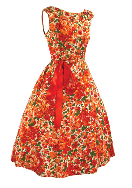 Vintage 1950s Vivid Orange & Red Cotton Floral Dress - New!