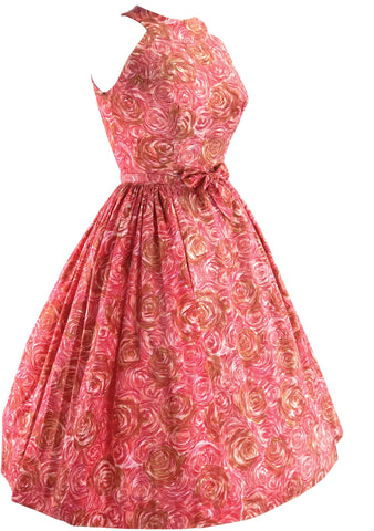 1950s Floral Raspberry Pink Cotton Day Dress - New! (RESERVED)