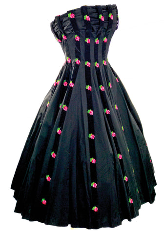 1950s Pink Roses Embroidered Black Satin Party Dress - New! (RESERVED)