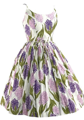 Vintage 1950s Hyacinth Print Cotton Dress- New!