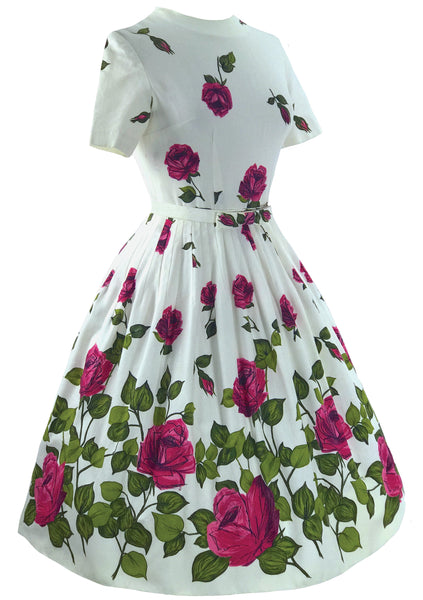 Outstanding Magenta Roses Pique Cotton Dress- New!