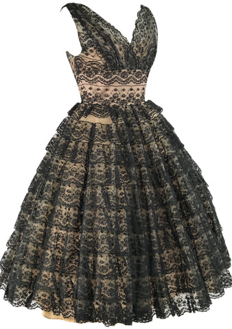 Spectacular 1950s Black Lace Cocktail Dress- New!