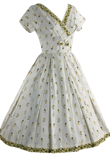 Stunning 1950s White Cotton Floral Border Print Dress- New!