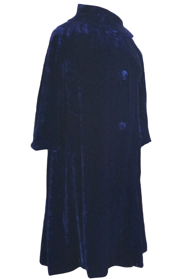 Vintage 1950s Blue Velvet Evening Coat- New!