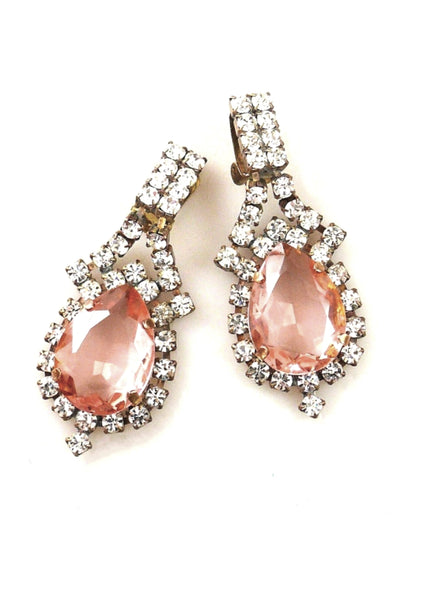 Genuine Czech Rose and Clear Crystal Earrings - New! (ON HOLD)