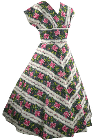Vintage 1950s Pink Roses Stripe Cotton Dress - New!