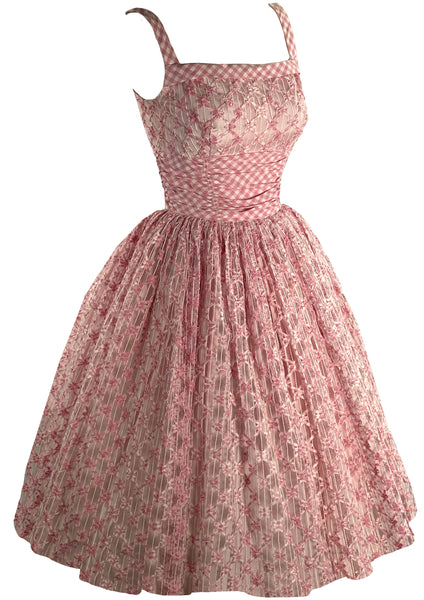 Late 1950s Early 1960s Pink & White Gingham Cotton Dress  - New!