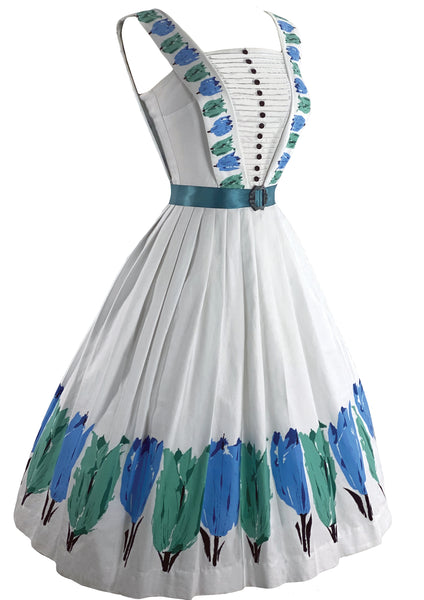 Late 1950s Early 1960s Blue and Green Tulips Designer Dress- New!