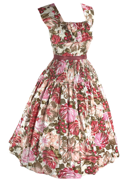 Vintage 1950s Pink Novelty Floral Cotton Dress- New!