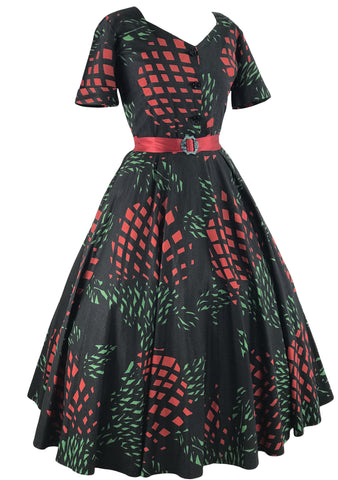 Vintage 1950s Stylised Waratahs Cotton Dress- New!