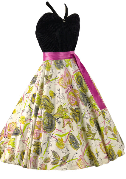1950s Green Roses, Pink Butterflies & Glitter Skirt - New!