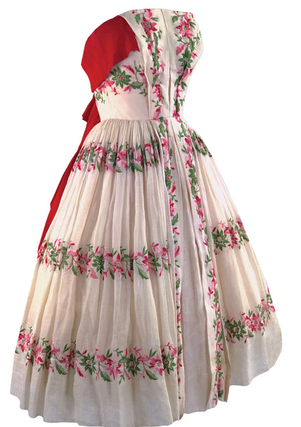 1950s Designer Floral Embroidered Organdie Dress - New!