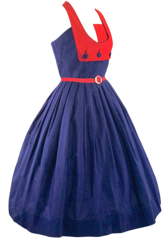 1950s Dramatic Sailor Cotton Designer Dress - New!