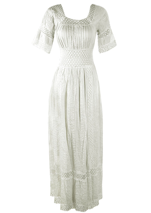 1970s Young Edwardian Look White Cotton Maxi Dress- New!