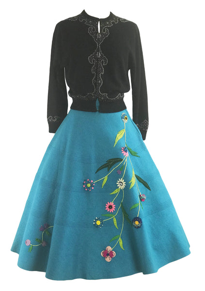Vintage 1950s Blue Felt Applique Skirt- New!