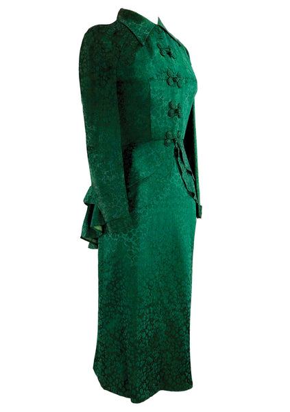 Late 1940s Designer Emerald Green Damask Suit- New!