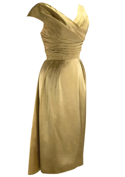 Stunning 1950s Liquid Gold Satin Party Dress- New!