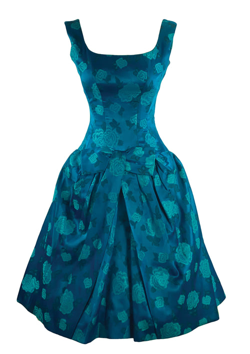 1950s Designer Frank Usher Teal Floral Brocade Cocktail Dress- New!