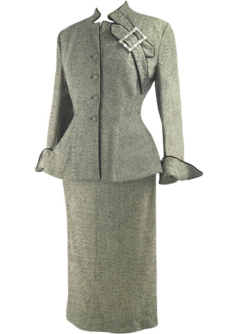 Early 1950s Lilli Ann Flecked Wool Designer Suit- New!