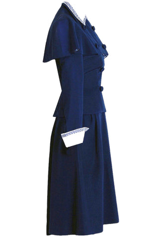Vintage 1940s Navy Blue Gabardine Suit- New!