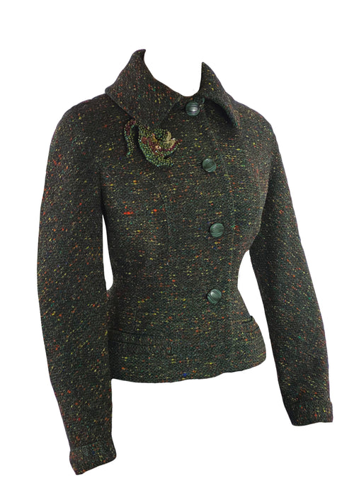 Vintage 1950s Olive Flecked Tweed Jacket - New!