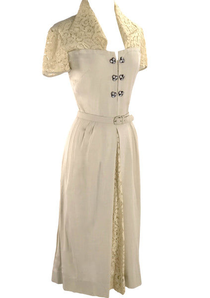 Original Unworn 1940s Ecru Linen & Cotton Lace Dress  - New!