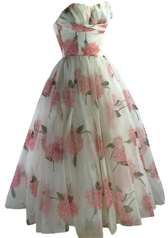 Vintage 1950s Pink Hydrangea Chiffon Party Dress - New!