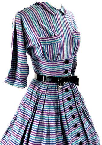 1950's Slate, Blue, Jade & Purple Striped Dress - New!