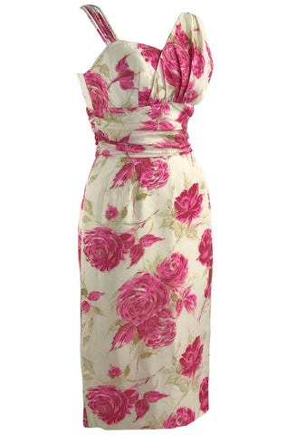 Vintage 1950s Vibrant Pink Roses Silk Asymmetrical Dress- New!