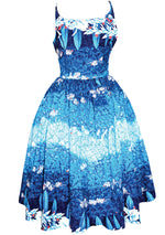 Late 1950s Blue Hawaiian Print Dress- New!
