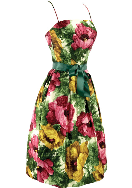 Original Late 1950s Vibrant Poppies Dress  - New!