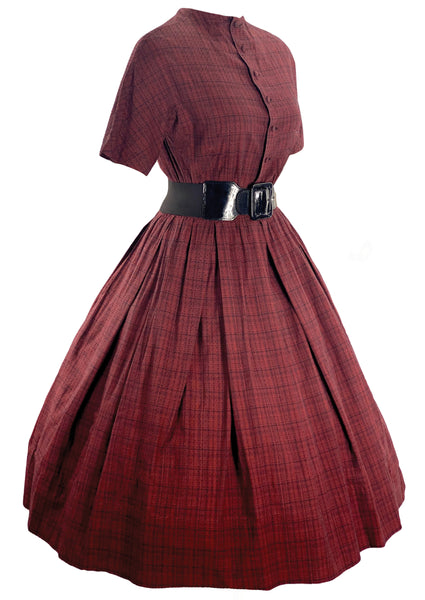 Late 1950s to Early 1960s Red Plaid Cotton Dress- New!