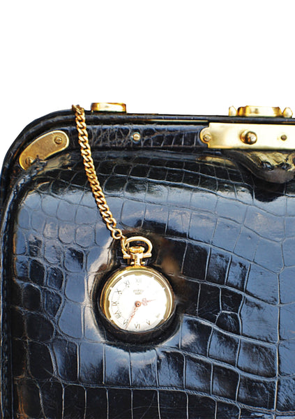 RARE Lederer 60's Designer Pocket Watch Crocodile Handbag- New
