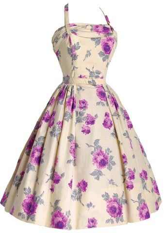 1950's Lilac Roses on Cream Cotton Dress Ensemble  - New!