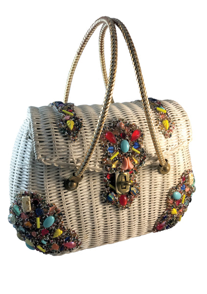 Original 1960s Midas of Miami Wicker Jewelled Handbag - New!