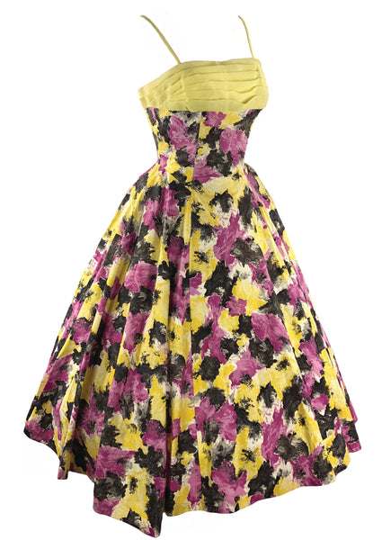 1950s Rose Pink and Yellow Abstract Floral Cocktail Dress- New!