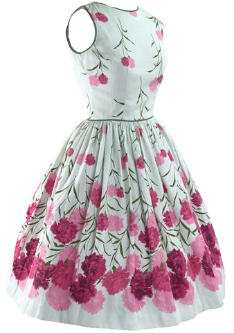 Vintage 1950s Pink Carnations Pique Dress - New!