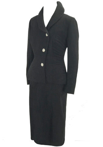 Vintage 1950s Black Wool Crepe Lilli Ann Suit - New! (ON HOLD)