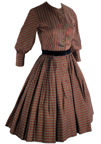 Stunning Late 1950s Bronze Ticking Stripe Faille Dress - New!