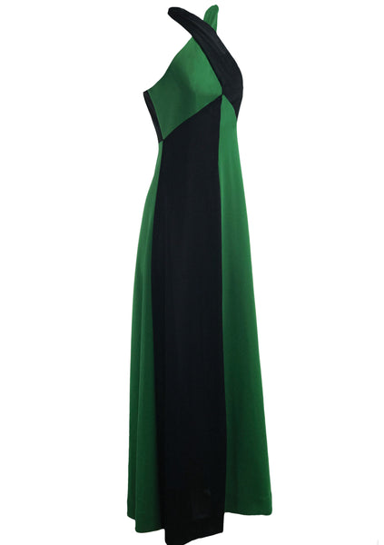 Vintage 1970s Green and Black Colour Block Maxi Dress- New!