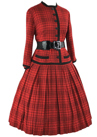 Vintage 1950s Red & Black Plaid Wool Dress- New!