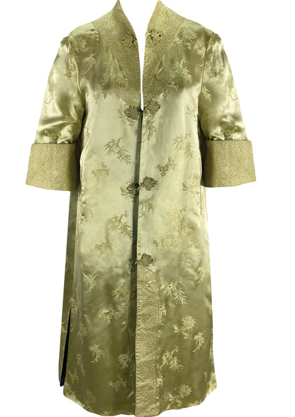 Vintage 1960s Chinese Floral Silk Satin Robe Coat- New!