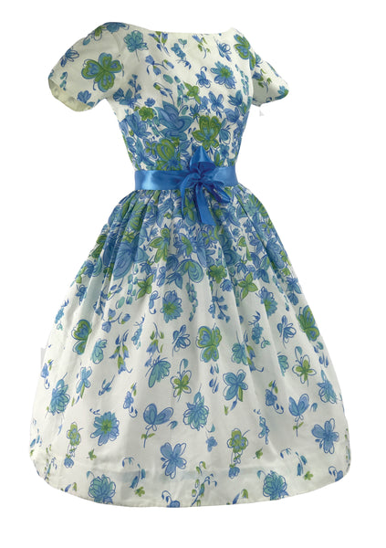 Original 1950's Sky Blue Cascading Floral Print Dress - New!