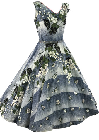 1950s Dogwood Floral Sprays 3D Applique Cotton Dress - New!