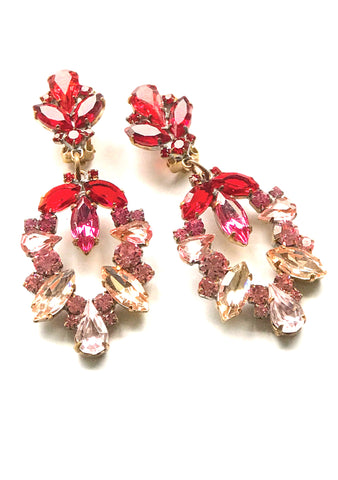 Classic Pink Tourmaline & Ruby Czech  Earrings - New!